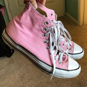 Pink hi top converse